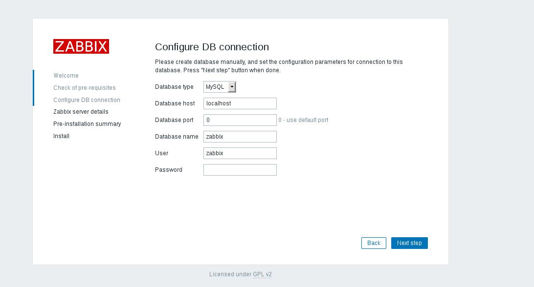 Zabbix MySQL configuration