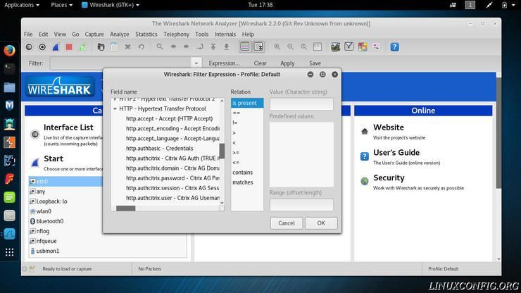 Wireshark dailog for creating a results filter