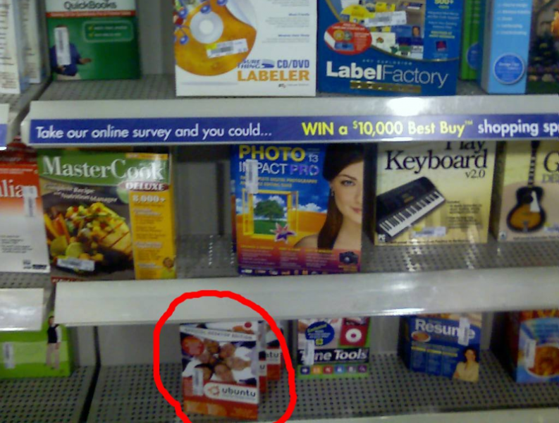 Ubuntu box packaging on a Best Buy shelf
