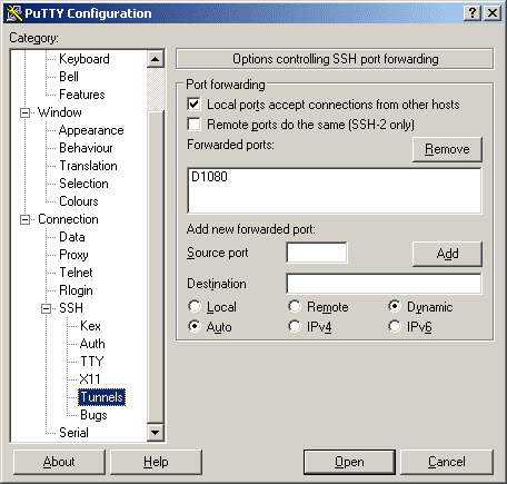 PuTTY SOCKS