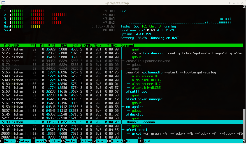 htop linux processes monitoring tool