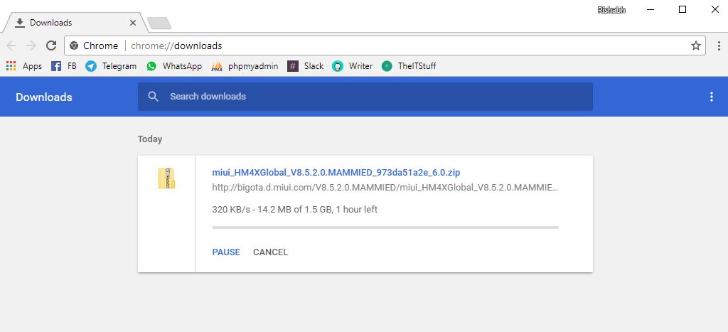 使用 Chrome 下载 MIUI 更新