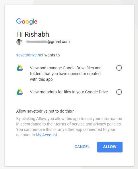 请求获得 Google Drive 的使用权限