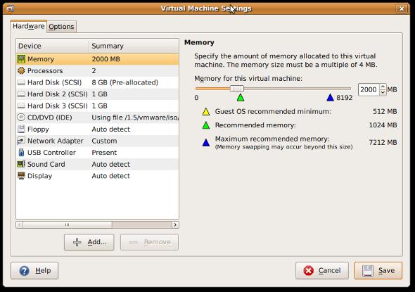 Fig.01:Vmware Virtual Machine Settings