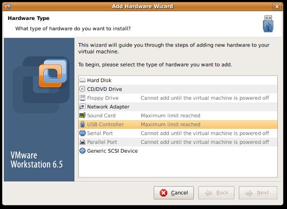 Fig.02:VMWare adding a new hardware