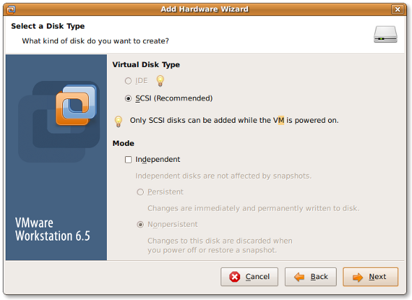 Fig.04:Vmware Wizard Disk