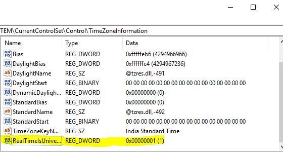 set universal time utc in windows