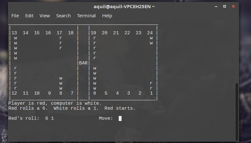 Linux 终端上的双陆棋