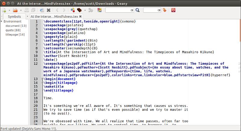 用 Geany 编辑一个 LaTeX 文档