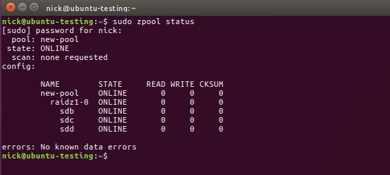 ZFS pool Status