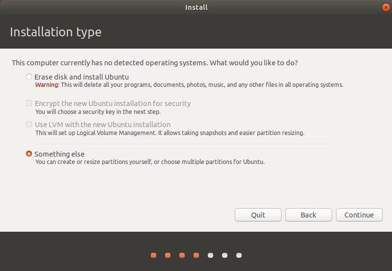自定义磁盘分区安装 Ubuntu