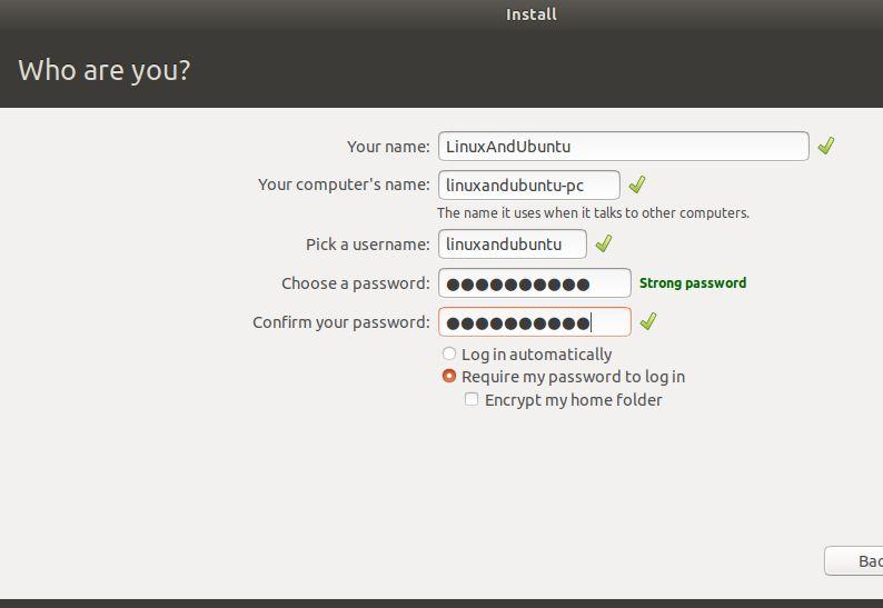 创建用户名、系统名并开始安装