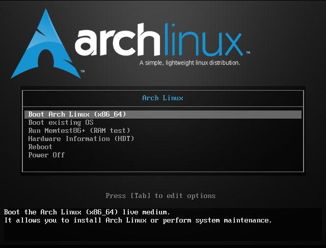 Arch Linux 安装引导菜单