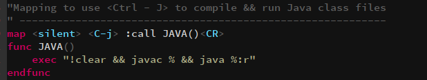 create function in vim for java