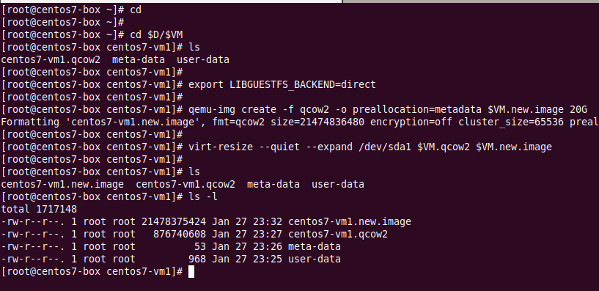 Set VM image disk size