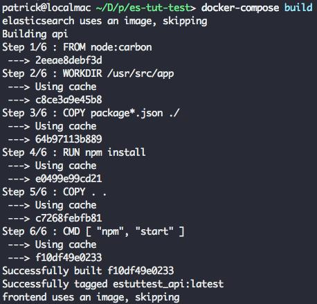 docker build output