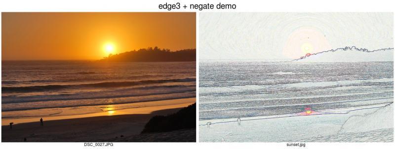 在图片上使用 `edge` 和 `negate` 选项
