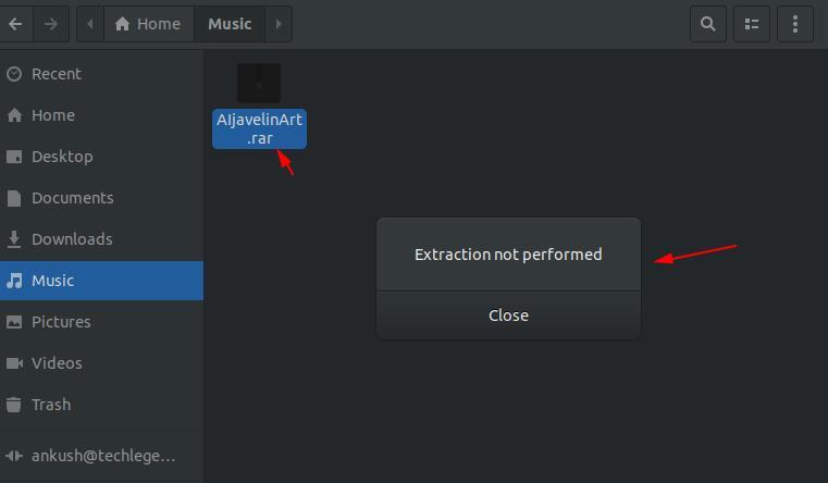 Error in RAR extraction in Ubuntu