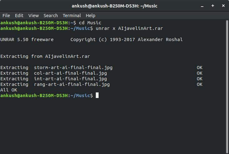 Using unrar in Ubuntu