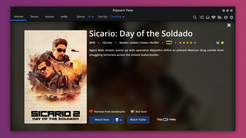 Watch movies on Popcorn Time