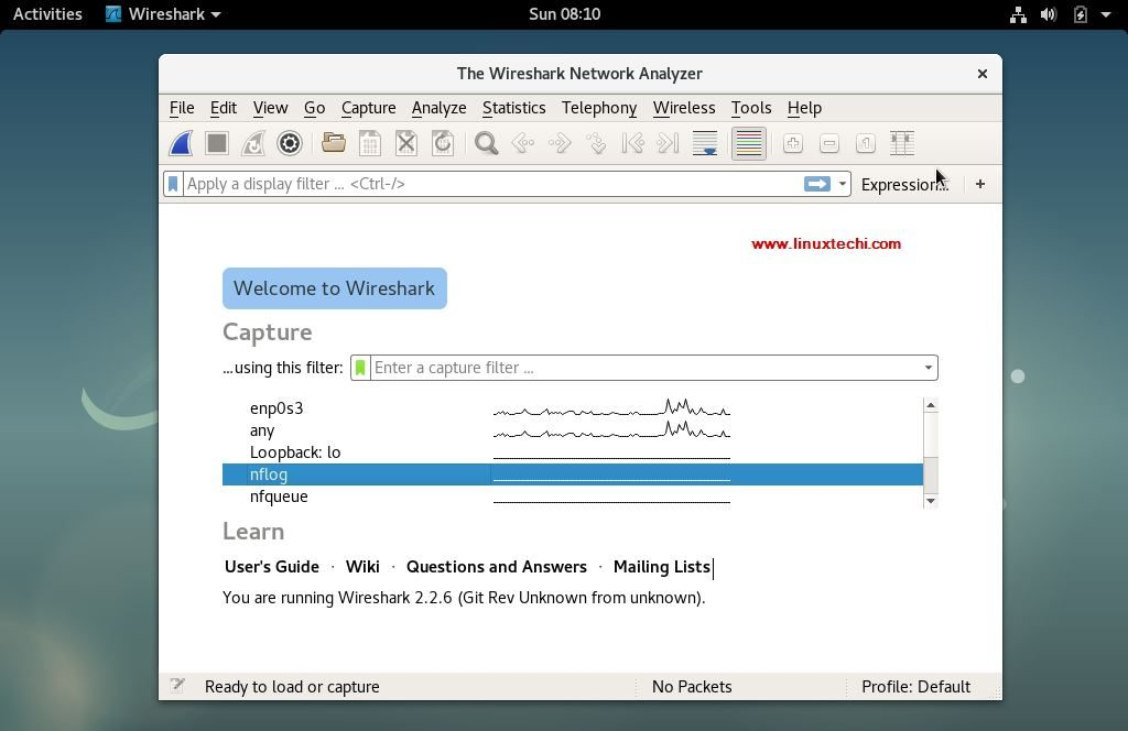 Wireshark-window-debian9