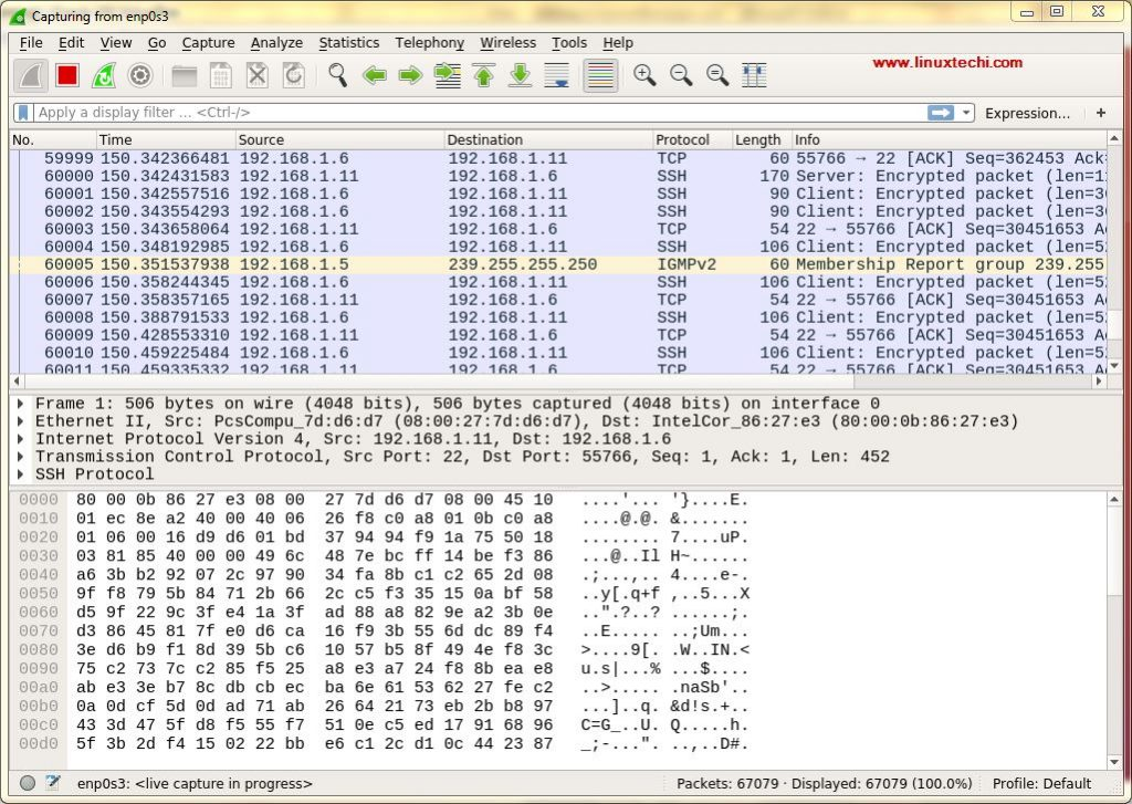Capturing-Packet-from-enp0s3-Ubuntu-Wireshark