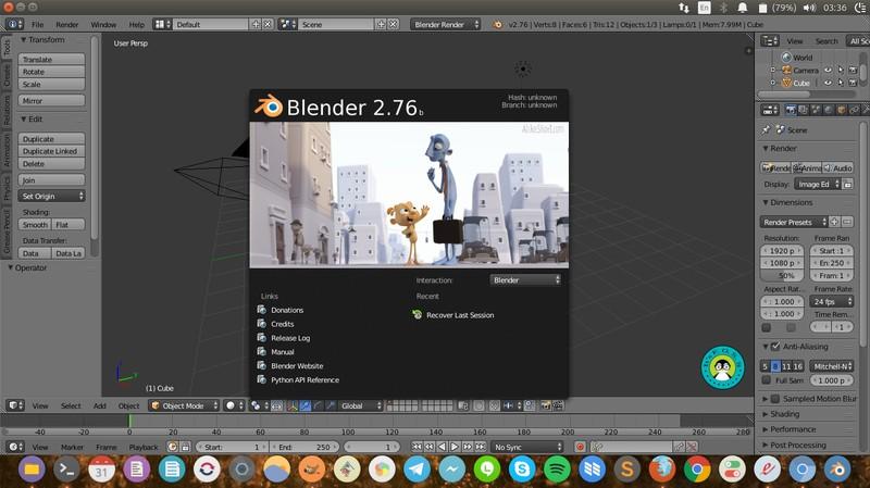 Blender 运行在 Ubuntu 16.04