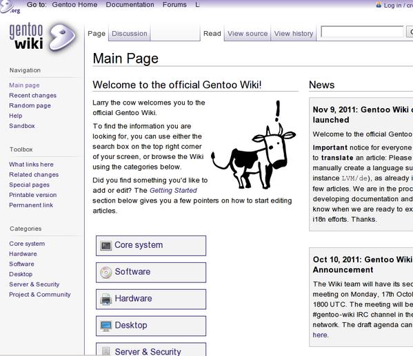 Gentoo Linux 手册和 Wiki