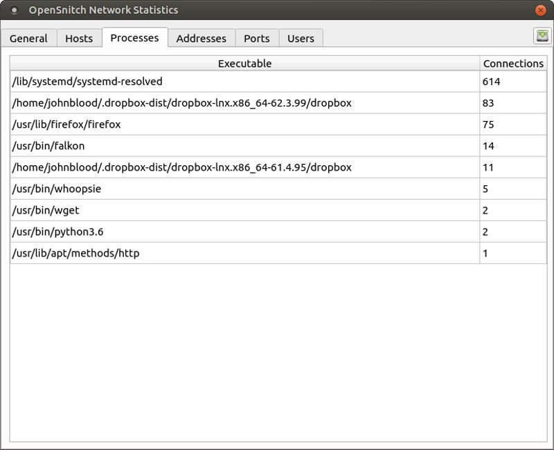 OpenSnitch firewall interface