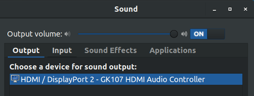 Sound settings screenshot
