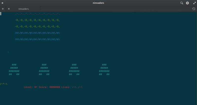 Ninvaders terminal game for Linux