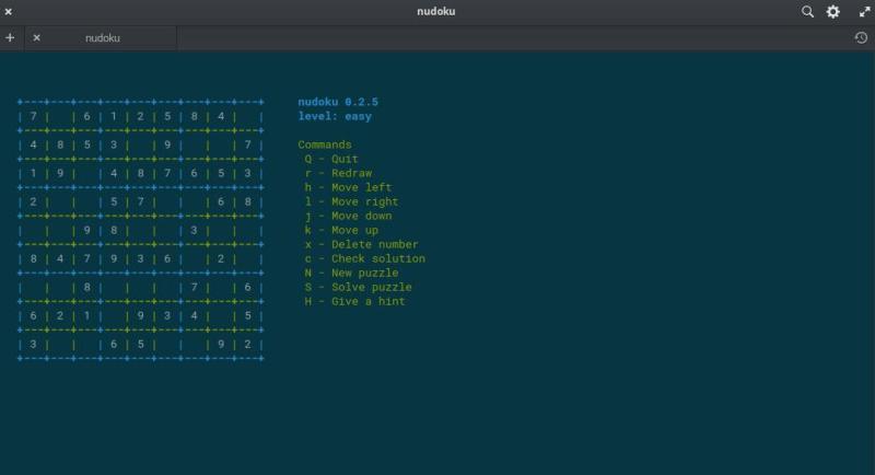 Nudoku is a terminal version game of Sudoku