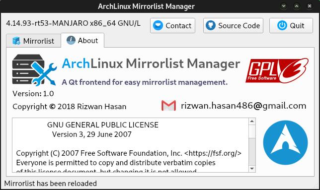 Arch Linux Mirrorlist Manager