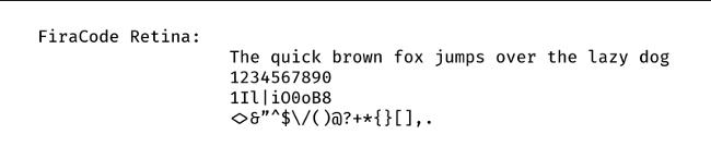 FiraCode 示例