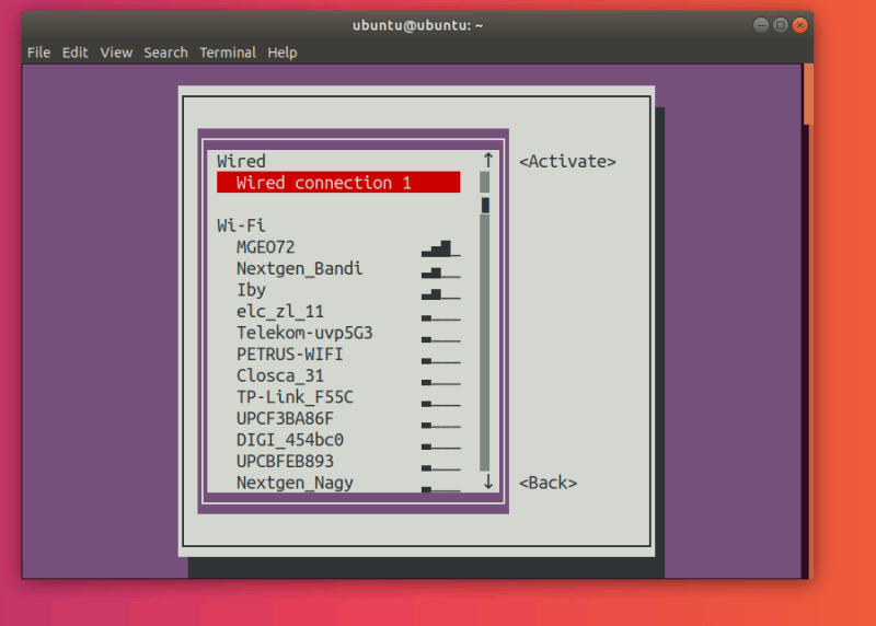 nmtui Connections Menu with no active connection
