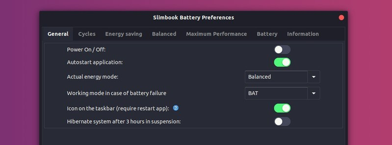 Slimbook Battery 通用设置
