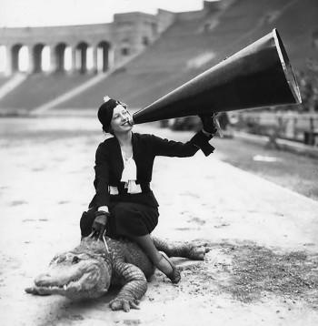 Woman riding an alligator
