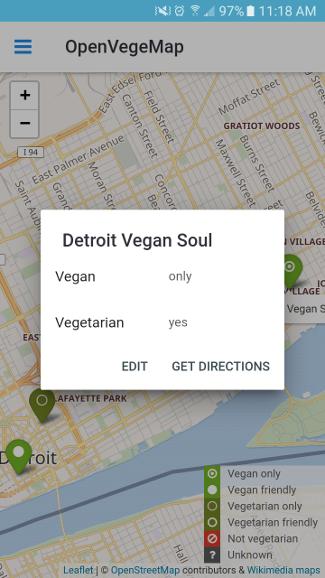 OpenVegeMap app