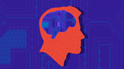 human head, brain outlined with computer hardware background