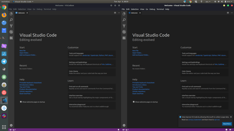 Can you guess which is VSCode and VSCodium?