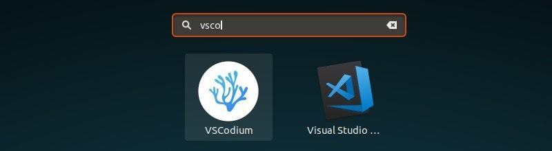 VSCodium and VS Code in GNOME Menu