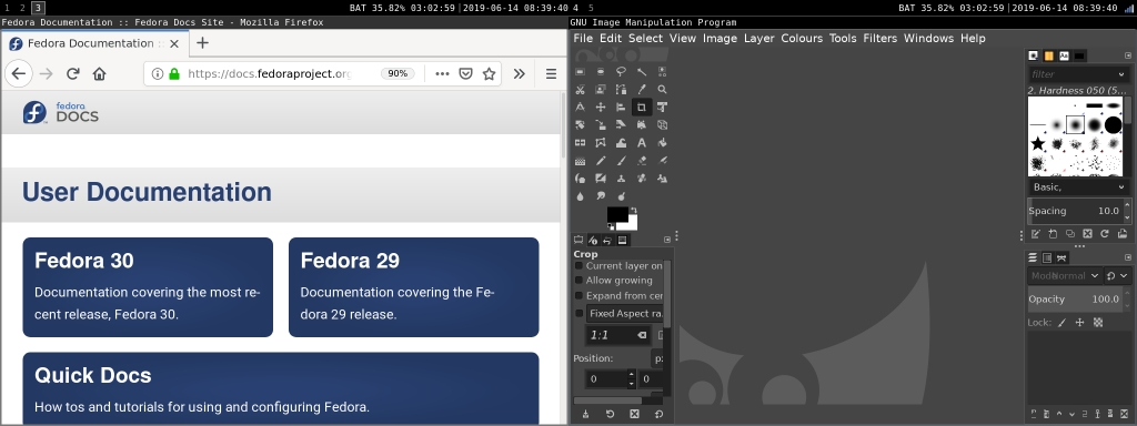 左侧屏幕切换为工作空间 3,右侧屏幕仍为工作空间 4