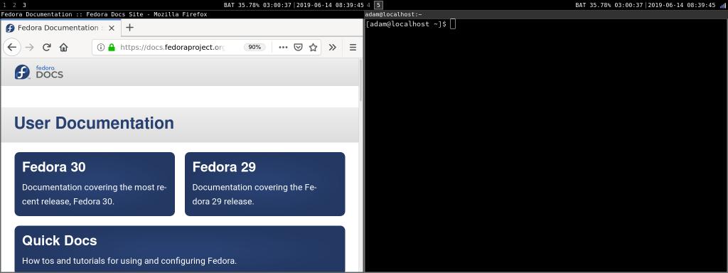 右侧屏幕切换为工作空间 5,左侧屏幕仍为空间空间 3