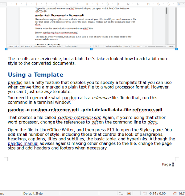 A document converted using a pandoc style template.