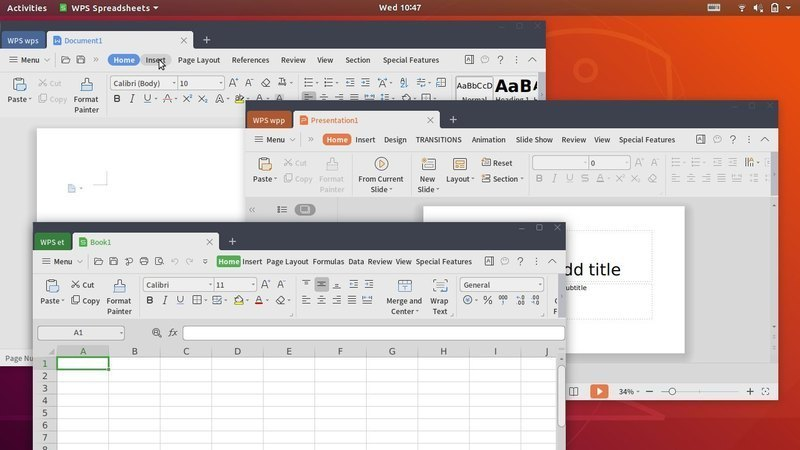WPS Office in Linux | Image Credit: Ubuntu Handbook
