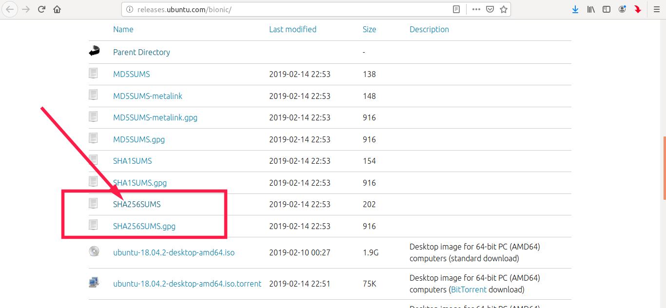 Ubuntu 18.04 的校验和及签名