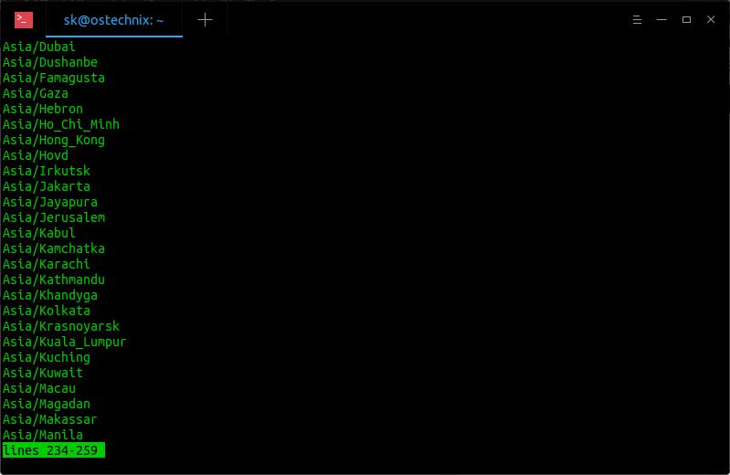 使用 timedatectl 命令列出时区