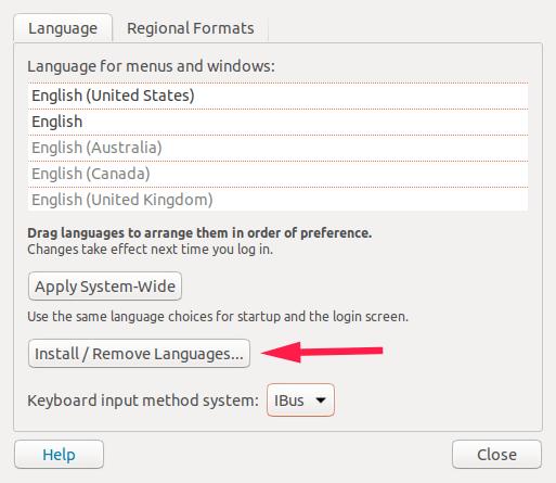 在 Ubuntu 中安装/移除语言