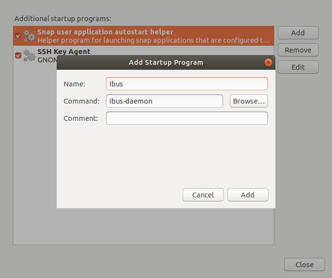 在 Ubuntu 中将 Ibus 添加进开机启动项