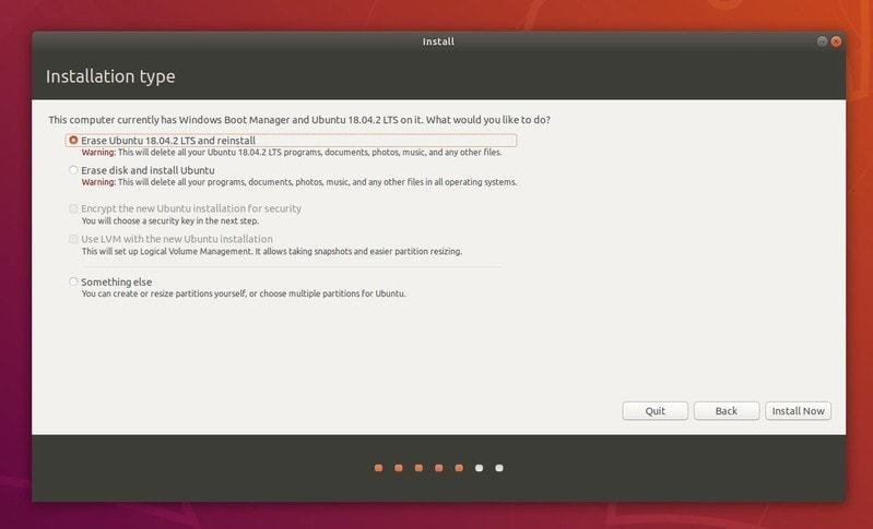 Reinstall Ubuntu option in dual boot mode
